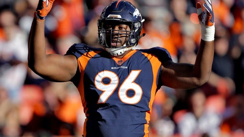 Denver Broncos defensive end Shelby Harris (96) celebrates his sack against het New York Jets during the first half of an NFL football game, Sunday, Dec. 10, 2017, in Denver. (AP Photo/Jack Dempsey)