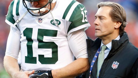 New York Jets quarterback Josh McCown (15) is helped after being injured against the Denver Broncos during the second half of an NFL football game, Sunday, Dec. 10, 2017, in Denver. (AP Photo/Joe Mahoney)