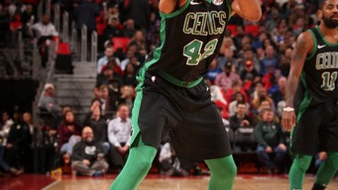 DETROIT, MI - DECEMBER 10: Al Horford #42 of the Boston Celtics handles the ball against the Detroit Pistons on December 10, 2017 at Little Caesars Arena in Detroit, Michigan. NOTE TO USER: User expressly acknowledges and agrees that, by downloading and/or using this photograph, User is consenting to the terms and conditions of the Getty Images License Agreement. Mandatory Copyright Notice: Copyright 2017 NBAE (Photo by Brian Sevald/NBAE via Getty Images)