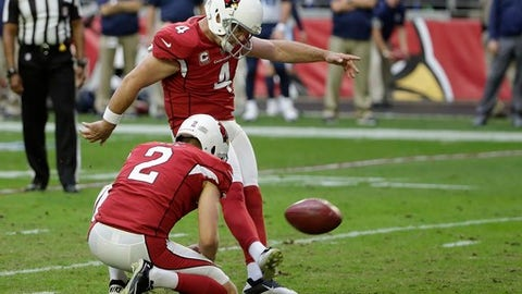 Arizona Cardinals kicker Phil Dawson (4) connects for a field goal against the Tennessee Titans as he is joined by holder Arizona Cardinals punter Andy Lee (2) during the second half of an NFL football game, Sunday, Dec.10, 2017, in Glendale, Ariz. (AP Photo/Rick Scuteri)