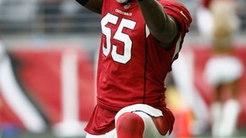 Arizona Cardinals outside linebacker Chandler Jones (55) celebrates a sack against the Tennessee Titans during the first half of an NFL football game, Sunday, Dec. 10, 2017, in Glendale, Ariz. (AP Photo/Ralph Freso)
