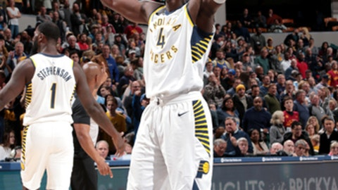 INDIANAPOLIS, IN - DECEMBER 10: Victor Oladipo #4 of the Indiana Pacers reacts after winning in overtime against the Denver Nuggets on December 10, 2017 at Bankers Life Fieldhouse in Indianapolis, Indiana. NOTE TO USER: User expressly acknowledges and agrees that, by downloading and or using this Photograph, user is consenting to the terms and conditions of the Getty Images License Agreement. Mandatory Copyright Notice: Copyright 2017 NBAE (Photo by Ron Hoskins/NBAE via Getty Images)