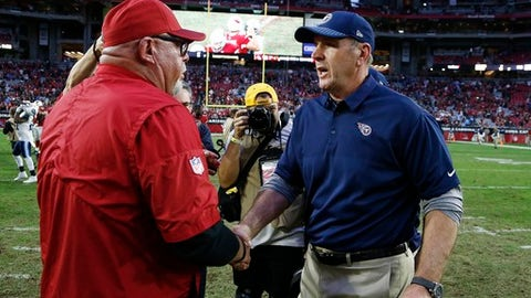 Arizona Cardinals head coach Bruce Arians, left, shakes hands with Tennessee Titans head coach Mike Mularkey, right, after an NFL football game Sunday, Dec. 10, 2017, in Glendale, Ariz. The Cardinals won 12-7. (AP Photo/Ralph Freso)