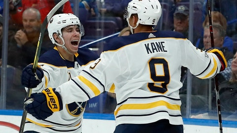 Buffalo Sabres' Evan Rodrigues, left, is congratulated by Evander Kane after scoring during the third period of an NHL hockey game against the St. Louis Blues, Sunday, Dec. 10, 2017, in St. Louis. (AP Photo/Jeff Roberson)