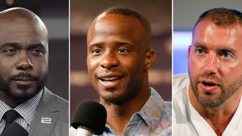 """FILE - At left, in an Oct. 5, 2017, file photo, Marshall Faulk broadcasts from the field after an NFL football game against the Tampa Bay Buccaneers, in Tampa, Fla.  At center, in a Sept. 9, 2015, file photo, NFL Network's Ike Taylor is interviewed during a media availability on set at the NFL Network studios, in Culver City, California. At right in a Sept. 9, 2015, file photo, NFL Network's Heath Evans is interviewed during a media availability on set at the NFL Network studios, in Culver City, Calif. Hall of Fame player Marshall Faulk and two other NFL Network analysts have been suspended after a former employee alleged sexual misconduct in a lawsuit. NFL spokesman Brian McCarthy on Tuesday, Dec. 12, 2017,  identified the three as Faulk, Ike Taylor and Heath Evans. He says they have been """"suspended from their duties at NFL Network pending an investigation into these allegations."""" (AP Photo/File)"""