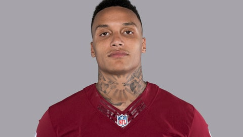 FILE - This is a 2017 file photo showing Su'a Cravens of the Washington Redskins NFL football team.  Su'a Cravens' agent says the Redskins safety has been cleared to resume football activities and plans to play next season. Fadde Mikhail says in a statement released Tuesday, Dec. 12, 2017, that Cravens suffered from post-concussion syndrome, was cleared Dec. 7 and no longer has symptoms. (AP Photo/File)