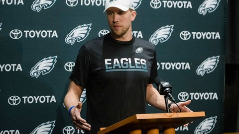 Philadelphia Eagles quarterback Nick Foles speaks with members of the media during a news conference at the team's NFL football training facility in Philadelphia, Tuesday, Dec. 12, 2017. (AP Photo/Matt Rourke)