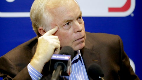 Baltimore Orioles manager Buck Showalter talks with members of the media at the Major League Baseball winter meetings Tuesday, Dec. 12, 2017, in Orlando, Fla. (AP Photo/John Raoux)