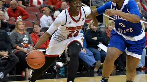 Louisville guard Jazmine Jones, left, attempts to drive past the defense of Tennessee State guard Taylor Roberts, right, during the first half of an NCAA college basketball game, Tuesday, Dec. 12, 2017, in Louisville, Ky. (AP Photo/Timothy D. Easley)