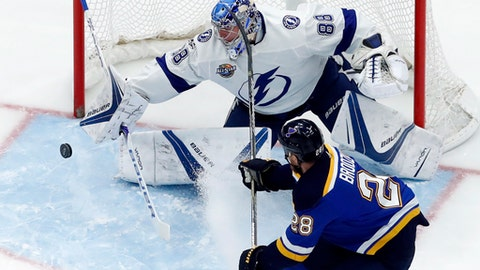 St. Louis Blues' Kyle Brodziak, right,  is unable to score past Tampa Bay Lightning goalie Andrei Vasilevskiy, of Russia, during the first period of an NHL hockey game Tuesday, Dec. 12, 2017, in St. Louis. (AP Photo/Jeff Roberson)