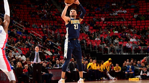DETROIT, MI - DECEMBER 12: Jamal Murray #27 of the Denver Nuggets shoots the ball against the Detroit Pistons on December 12, 2017 at Little Caesars Arena in Detroit, Michigan. NOTE TO USER: User expressly acknowledges and agrees that, by downloading and/or using this photograph, User is consenting to the terms and conditions of the Getty Images License Agreement. Mandatory Copyright Notice: Copyright 2017 NBAE (Photo by Chris Schwegler/NBAE via Getty Images)