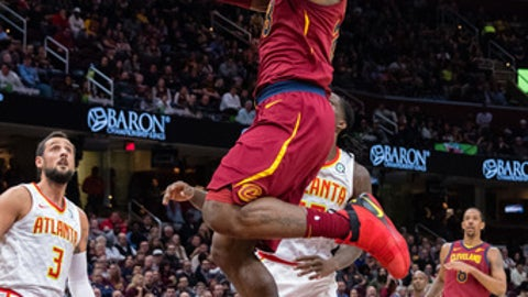 CLEVELAND, OH - DECEMBER 12: LeBron James #23 of the Cleveland Cavaliers drives to the basket during the first half against the Atlanta Hawks at Quicken Loans Arena on December 12, 2017 in Cleveland, Ohio. NOTE TO USER: User expressly acknowledges and agrees that, by downloading and or using this photograph, User is consenting to the terms and conditions of the Getty Images License Agreement. (Photo by Jason Miller/Getty Images)