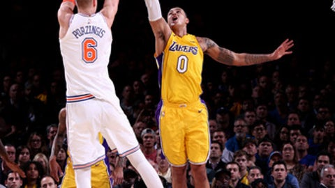 NEW YORK, NY - DECEMBER 12: Kristaps Porzingis #6 of the New York Knicks shoots the ball during the game against the Los Angeles Lakers on December 12, 2017 at Madison Square Garden in New York, New York. NOTE TO USER: User expressly acknowledges and agrees that, by downloading and or using this Photograph, user is consenting to the terms and conditions of the Getty Images License Agreement. Mandatory Copyright Notice: Copyright 2017 NBAE (Photo by Nathaniel S. Butler/NBAE via Getty Images)