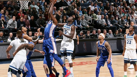 MINNEAPOLIS, MN - DECEMBER 12:  Joel Embiid #21 of the Philadelphia 76ers drives to the basket against the Minnesota Timberwolves on December 12, 2017 at Target Center in Minneapolis, Minnesota. NOTE TO USER: User expressly acknowledges and agrees that, by downloading and or using this Photograph, user is consenting to the terms and conditions of the Getty Images License Agreement. Mandatory Copyright Notice: Copyright 2017 NBAE (Photo by David Sherman/NBAE via Getty Images)