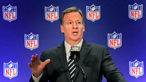 "FILE - In this Oct. 18, 2017, file photo, NFL commissioner Roger Goodell speaks during a news conference in New York. An NFL spokesman says Commissioner Roger Goodell views the agreement reached on an extension last week as his final contract overseeing the league. Spokesman Joe Lockhart said at the owners meetings Wednesday, Dec. 13, 2017, that Goodell ""has been clear that he views this as his last contract and will allow him to both deal with some of the important issues that we know are on the horizon.""(AP Photo/Julie Jacobson, File)"