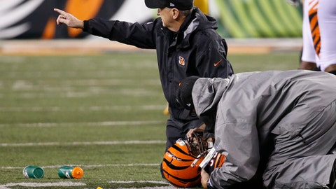 "In this Monday, Dec. 4, 2017, file photo, Cincinnati Bengals outside linebacker Vontaze Burfict (55) lies on the field after an apparent injury in the second half of an NFL football game against the Pittsburgh Steelers in Cincinnati. The Chicago Bears piled up a season-high 482 yards last weekend against the Bengals defense, that was missing starting cornerbacks Adam ""Pacman"" Jones and Dre Kirkpatrick as well as linebackers Vontaze Burfict and Nick Vigil. (AP Photo/Frank Victores, File)"