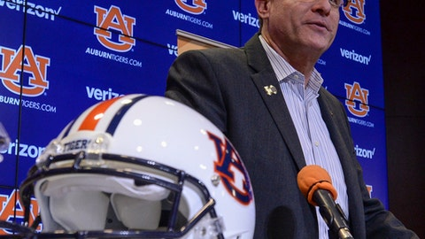 Auburn head coach Gus Malzahn speaks Wednesday, Dec. 13, 2017, during a Peach Bowl press conference in Auburn, Ala. No. 7 Auburn will play undefeated UCF in the 50th Anniversary Chick-fil-A Peach Bowl on Jan. 1, 2018. (Julie Bennett/AL.com via AP