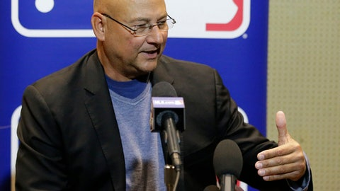 Terry Francona, manager of the Cleveland Indians, talks with members of the media at the Major League Baseball winter meetings Wednesday, Dec. 13, 2017, in Orlando, Fla. (AP Photo/John Raoux)