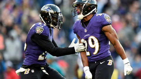 FILE - In this Sunday, Dec. 3, 2017, file photo, Baltimore Ravens defensive back Marlon Humphrey (29) celebrates his interception with teammate Tony Jefferson in the second half of an NFL football game against the Detroit Lions in Baltimore. As a member of the Alabama football, Marlon Humphrey knew what to expect against non-league foes such as Mercer and Kent State. Now a rookie starting cornerback with the Ravens, he finds himself in a similar situation entering Sunday's game against the winless Cleveland Browns. (AP Photo/Gail Burton, File)