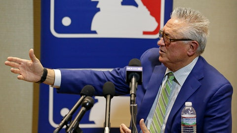 Clint Hurdle, manager of the Pittsburgh Pirates, talks with members of the media at the Major League Baseball winter meetings Wednesday, Dec. 13, 2017, in Orlando, Fla. (AP Photo/John Raoux)