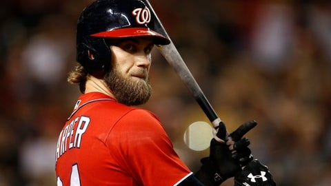 FILE - In this Saturday, July 22, 2017 file photo, Washington Nationals' Bryce Harper waits to bat against the Arizona Diamondbacks during the seventh inning of a baseball game in Phoenix. With Bryce Harper a year from free agency, the agent for Washington's star opened contract talk with the Nationals. (AP Photo/Ross D. Franklin, File)