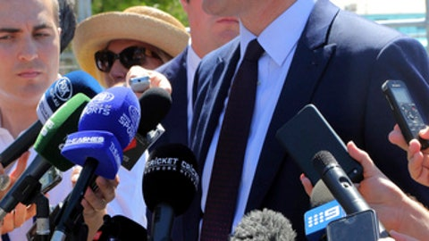 "CEO of Cricket Australia James Sutherland speaks about match fixing allegations before the Ashes cricket test match in Perth, Australia, Thursday, Dec. 14, 2017. The International Cricket Council says there is no evidence the third Ashes test has been ""corrupted"" after claims emerged in a British newspaper that bookmakers had offered to fix parts of the match. (AP Photo/Trevor Collens)"