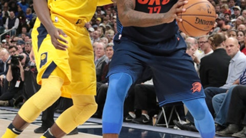 INDIANAPOLIS, IN - DECEMBER 13: Paul George #13 of the Oklahoma City Thunder looks to pass the ball against the Indiana Pacers on December 13, 2017 at Bankers Life Fieldhouse in Indianapolis, Indiana. NOTE TO USER: User expressly acknowledges and agrees that, by downloading and/or using this photograph, user is consenting to the terms and conditions of the Getty Images License Agreement. Mandatory Copyright Notice: Copyright 2017 NBAE (Photo by Ron Hoskins/NBAE via Getty Images)