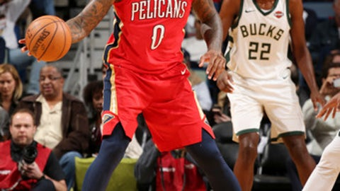OKLAHOMA CITY, OK - DECEMBER 13: DeMarcus Cousins #0 of the New Orleans Pelicans handles the ball during the game against the Milwaukee Bucks on December 13, 2017 at Smoothie King Center in New Orleans, Louisiana. NOTE TO USER: User expressly acknowledges and agrees that, by downloading and or using this photograph, User is consenting to the terms and conditions of the Getty Images License Agreement. Mandatory Copyright Notice: Copyright 2017 NBAE (Photo by Layne Murdoch/NBAE via Getty Images)