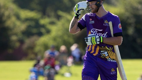 CORRECTING SCORE TO 93 RUNS England cricketer Ben Stokes walks from the field following his innings of 93 runs in his match for The Canterbury Kings against the Otago Volts in a Twenty/20 match Christchurch, New Zealand, Thursday, Dec. 14, 2017.The New Zealand-born allrounder has been suspended from playing for England while police investigate his role in the September 25 incident in Bristol which followed a limited-overs international against the West Indies. (AP Photo/Mark Baker)
