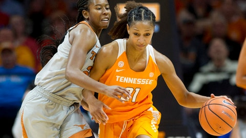FILE - In this Dec. 10, 2017, file photo, Texas guard Ariel Atkins, left, defends against Tennessee guard Jaime Nared (31) in an NCAA college basketball game Sunday, Dec. 10, 2017, in Knoxville, Tenn. The seventh-ranked Lady Vols (10-0) are back in the top 10 for the first time in two seasons after an 82-75 home victory Sunday over No. 8 Texas, which was ranked second at the time. Tennessee will put that ranking to the test the rest of this month during a 3 ½-week stretch without a home game. (AP Photo/Calvin Mattheis, File)