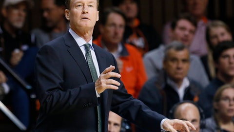 Charlotte head coach Mark Price during an NCAA college basketball game between Charlotte and Oklahoma State in Stillwater, Okla., Monday, Nov. 13, 2017. (AP Photo/Sue Ogrocki)