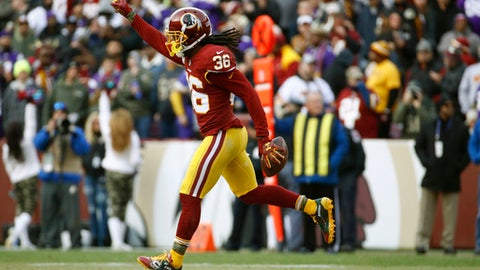 FILE - In this Nov. 12, 2017 photo, Washington Redskins free safety D.J. Swearinger (36) celebrates his interception of a pass intended for Minnesota Vikings tight end Kyle Rudolph during the second half of an NFL football game against the Minnesota Vikings in Landover, Md. Swearinger prepares to face the Cardinals as Redskins' leader on Sunday, Dec. 17.  (AP Photo/Patrick Semansky, File)