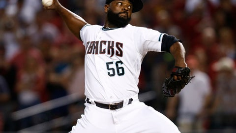 Arizona Diamondbacks relief pitcher Fernando Rodney throws during the ninth inning of the National League wild-card playoff baseball game against the Colorado Rockies, Wednesday, Oct. 4, 2017, in Phoenix. The Diamondbacks won 11-8 to advance to an NLDS against the Los Angeles Dodgers. (AP Photo/Ross D. Franklin)