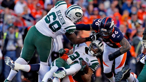 FILE - In this Sunday, Dec. 10, 2017, file photo, New York Jets running back Matt Forte (22) is tackled by Denver Broncos defensive end Shelby Harris and outside linebacker Shane Ray (56) during the first half of an NFL football game in Denver. The Jets put up a measley 100 yards of offense last Sunday at Denver, the second-lowest total in franchise history. (AP Photo/Joe Mahoney, File)