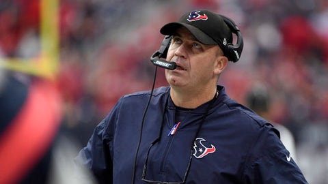 FILE - In this Dec. 10, 2017, file photo, Houston Texans head coach Bill O'Brien attends the first half of an NFL football game against the San Francisco 49ers in Houston. The Jacksonville Jaguars host the Texans on Sunday, Dec. 17, 2017, and can clinch a playoff spot with a victory. It would be Jacksonville's first postseason berth since 2007.(AP Photo/Eric Christian Smith, File)