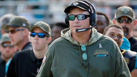 FILE - In this Nov. 12, 2017, file photo, Jacksonville  Jaguars head coach Doug Marrone walks the sideline during the second half of an NFL football game against the Los Angeles Chargers in Jacksonville, Fla. The Jaguars host the Houston Texans on Sunday, Dec. 17, 2017, and can clinch a playoff spot with a victory. It would be Jacksonville's first postseason berth since 2007. (AP Photo/Stephen B. Morton, File)