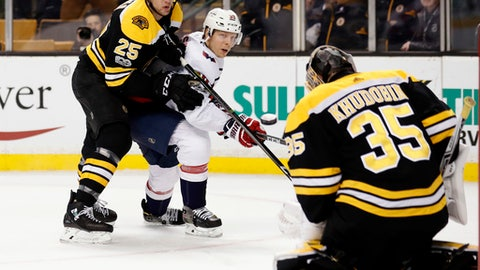 Washington Capitals' Alex Chiasson watches as his shot is stopped by Boston Bruins goalie Anton Khudobin with defenseman Brandon Carlo looking on during the first period of an NHL hockey game in Boston Thursday, Dec. 14, 2017. (AP Photo/Winslow Townson)