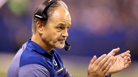 Indianapolis Colts head coach Chuck Pagano cheers from the sidelines during the first half of an NFL football game against the Denver Broncos in Indianapolis, Thursday, Dec. 14, 2017. (AP Photo/Darron Cummings)