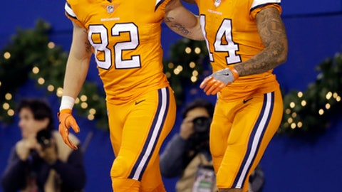 Denver Broncos tight end Jeff Heuerman (82) celebrates his touchdown with wide receiver Cody Latimer (14) during the second half of an NFL football game against the Indianapolis Colts in Indianapolis, Thursday, Dec. 14, 2017. (AP Photo/AJ Mast)