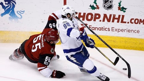 Arizona Coyotes defenseman Jason Demers (55) and Tampa Bay Lightning right wing Nikita Kucherov (86) collide as they go after the puck during the second period of an NHL hockey game, Thursday, Dec. 14, 2017, in Glendale, Ariz. (AP Photo/Ross D. Franklin)