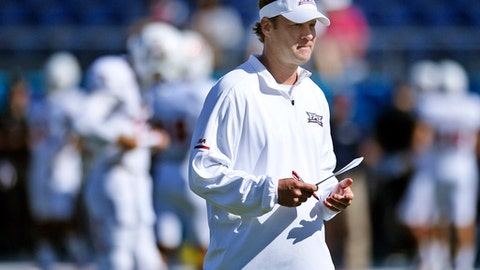 FILE - In this Dec. 2, 2017, file photo, FAU head coach Lane Kiffin looks over his team before the Conference USA championship NCAA college football game against North Texas, Saturday, in Boca Raton, Fla. FAU, Miami, Navy and Memphis are playing their bowl games on their home fields, and five other teams will play bowls in their home states. And that number could rise to six if Georgia makes the College Football Playoff championship game in Atlanta. (Jim Rassol/South Florida Sun-Sentinel via AP, File)