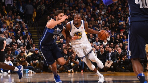 OAKLAND, CA - DECEMBER 14: Kevin Durant #35 of the Golden State Warriors handles the ball against the Dallas Mavericks on December 14, 2017 at ORACLE Arena in Oakland, California. NOTE TO USER: User expressly acknowledges and agrees that, by downloading and or using this photograph, user is consenting to the terms and conditions of Getty Images License Agreement. Mandatory Copyright Notice: Copyright 2017 NBAE (Photo by Noah Graham/NBAE via Getty Images)