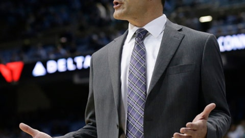 FILE - In this Nov. 10, 2017, file photo, Northern Iowa head coach Ben Jacobson directs his team during the first half of an NCAA college basketball game against North Carolina, in Chapel Hill, N.C. Iowa and Iowa State have never been swept in their annual doubleheader against Northern Iowa and Drake. That might change on Saturday in Des Moines. (AP Photo/Gerry Broome, File)