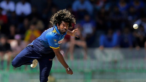 FILE - This is a Thursday, Aug. 31, 2017 file photo of Sri Lanka's Lasith Malinga as he bowls during their fourth one-day international cricket match against India in Colombo, Sri Lanka.  Sri Lanka on  friday Dec. 15, 2017  dropped fast bowler Lasith Malinga from its squad of 15 players for the upcoming three-match Twenty20 series against India. (AP Photo/Eranga Jayawardena, File)