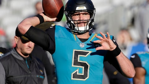 FILE - In this Sunday, Dec. 10, 2017 file photo, Jacksonville Jaguars quarterback Blake Bortles warms up before an NFL football game against the Seattle Seahawks in Jacksonville, Fla. It took 13 games for the Jacksonville Jaguars to give quarterback Blake Bortles full control of the offense. Offensive coordinator Nathaniel Hackett said this week that Bortles was allowed to audible from running plays to passing plays for the first time all season against Seattle.(AP Photo/John Raoux, File)