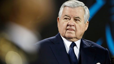 FILE - In this Sunday, Jan. 24, 2016 file photo, Carolina Panthers owner Jerry Richardson watches before the NFL football NFC Championship game against the Arizona Cardinals in Charlotte, N.C. The Carolina Panthers are investigating workplace misconduct allegations against founder and owner Jerry Richardson. The team said Friday, Dec. 15, 2017 former White House Chief of Staff Erskine Bowles is overseeing the investigation by a Los Angeles-based law firm. (AP Photo/Bob Leverone, File)