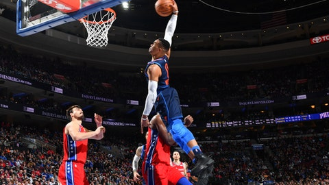 PHILADELPHIA,PA -  DECEMBER 15 : Russell Westbrook #0 of the Oklahoma City Thunder dunks the ball against the Philadelphia 76ers at Wells Fargo Center on December 15, 2017 in Philadelphia, Pennsylvania NOTE TO USER: User expressly acknowledges and agrees that, by downloading and/or using this Photograph, user is consenting to the terms and conditions of the Getty Images License Agreement. Mandatory Copyright Notice: Copyright 2017 NBAE (Photo by Jesse D. Garrabrant/NBAE via Getty Images)