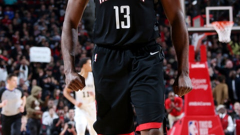 HOUSTON, TX - DECEMBER 15: James Harden #13 of the Houston Rockets reacts during the game against the San Antonio Spurs on December 15, 2017 at Toyota Center in Houston, Texas. NOTE TO USER: User expressly acknowledges and agrees that, by downloading and or using this photograph, User is consenting to the terms and conditions of the Getty Images License Agreement. Mandatory Copyright Notice: Copyright 2017 NBAE (Photo by Layne Murdoch/NBAE via Getty Images)