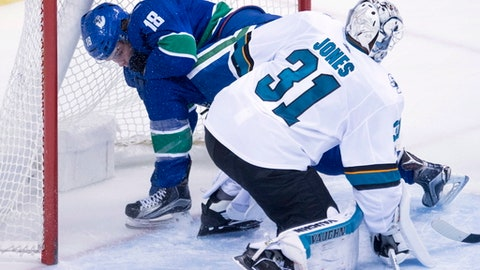 San Jose Sharks goalie Martin Jones (31) looks on as Vancouver Canucks right wing Jake Virtanen (18) crashes into the net during the third period of an NHL hockey game in Vancouver, Friday, Dec. 15, 2017.  (Jonathan Hayward/The Canadian Press via AP)