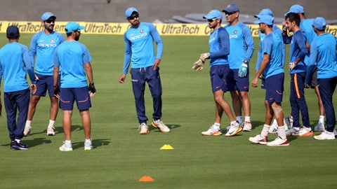 Members of Indian team attend a training session ahead of their third and final one-day international cricket match against Sri Lanka in Visakhapatnam, India, Saturday, Dec. 16, 2017. (AP Photo/Aijaz Rahi)